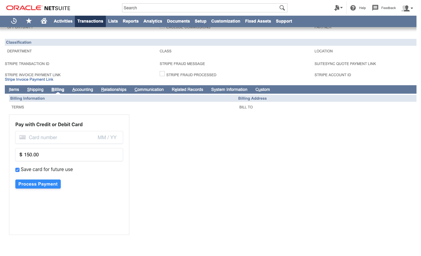 Stripe Connector for NetSuite screenshot 0