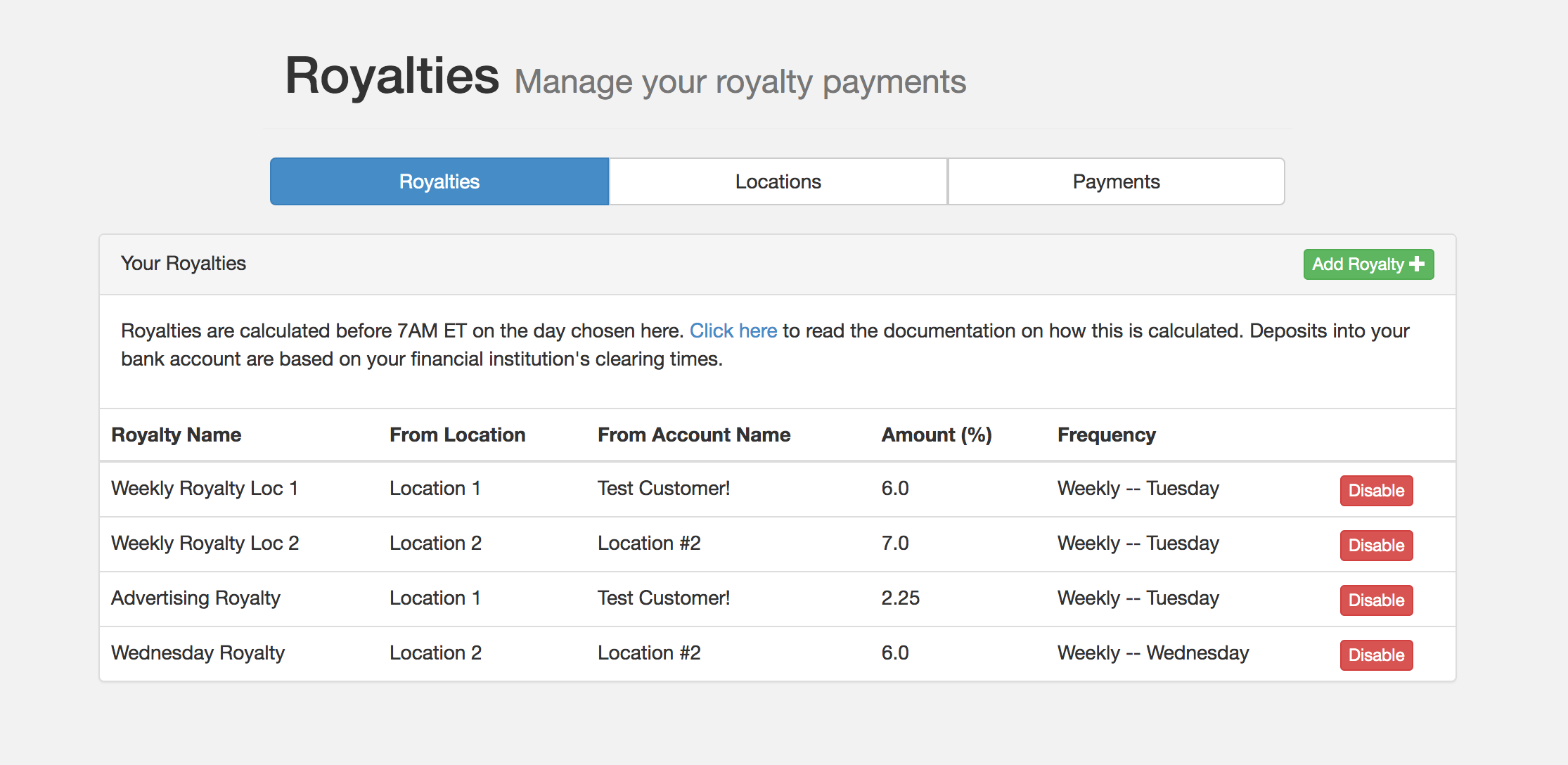 Franchise Royalty Payments screenshot 0