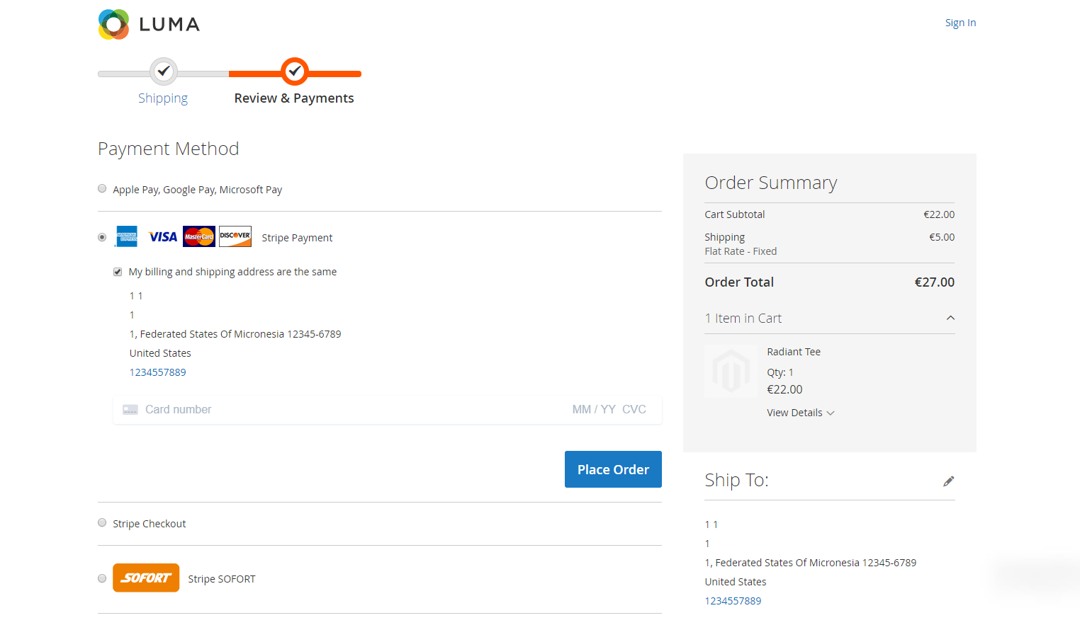 Magento 2 Stripe Payment Gateway screenshot 0
