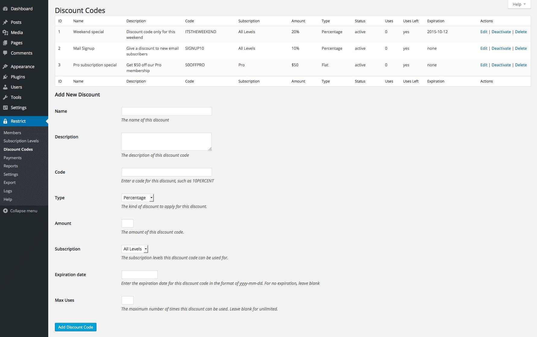 Restrict Content Pro screenshot 0