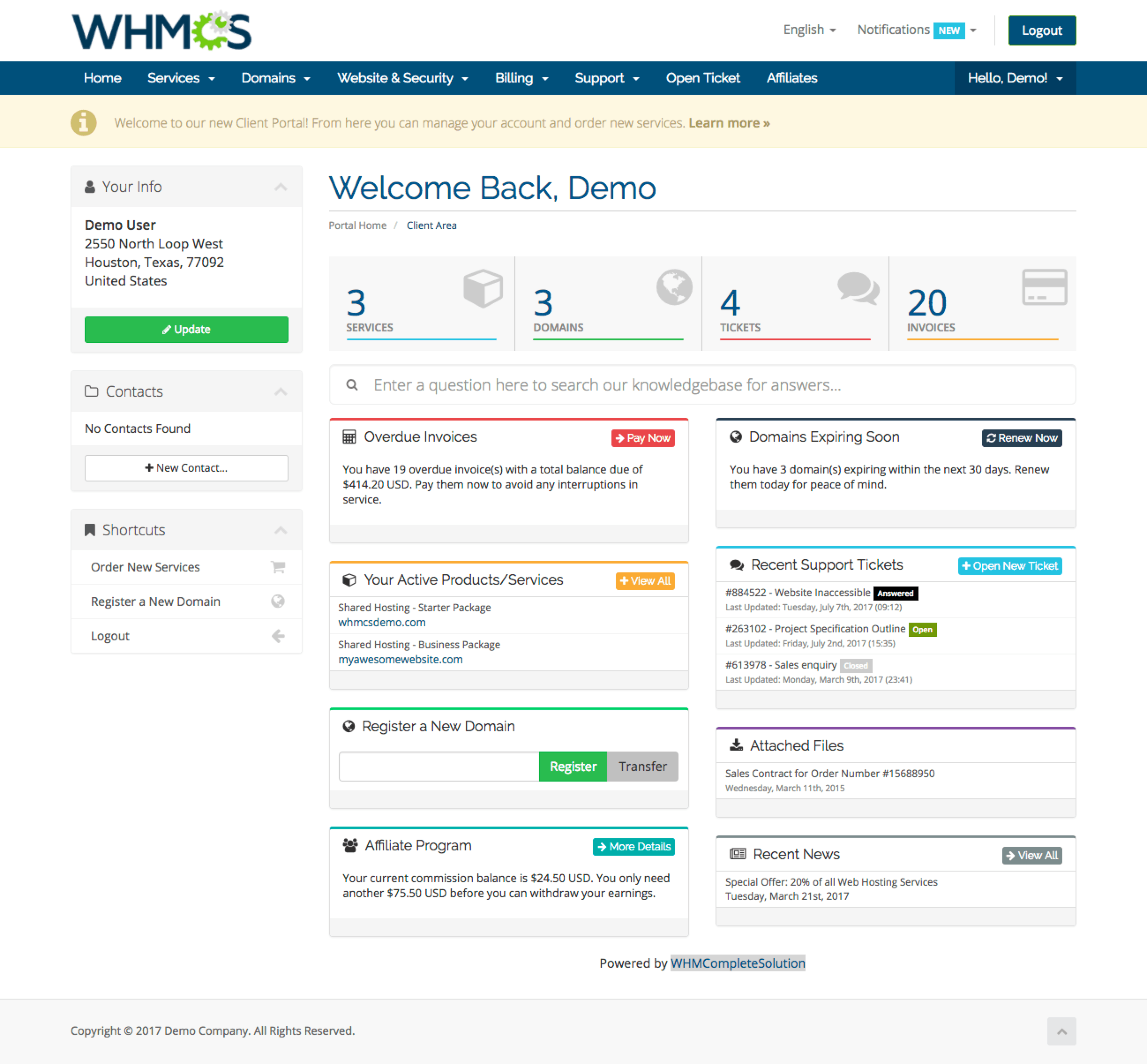 WHMCS screenshot 2