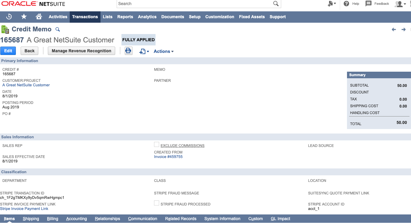 Stripe Connector for NetSuite screenshot 1