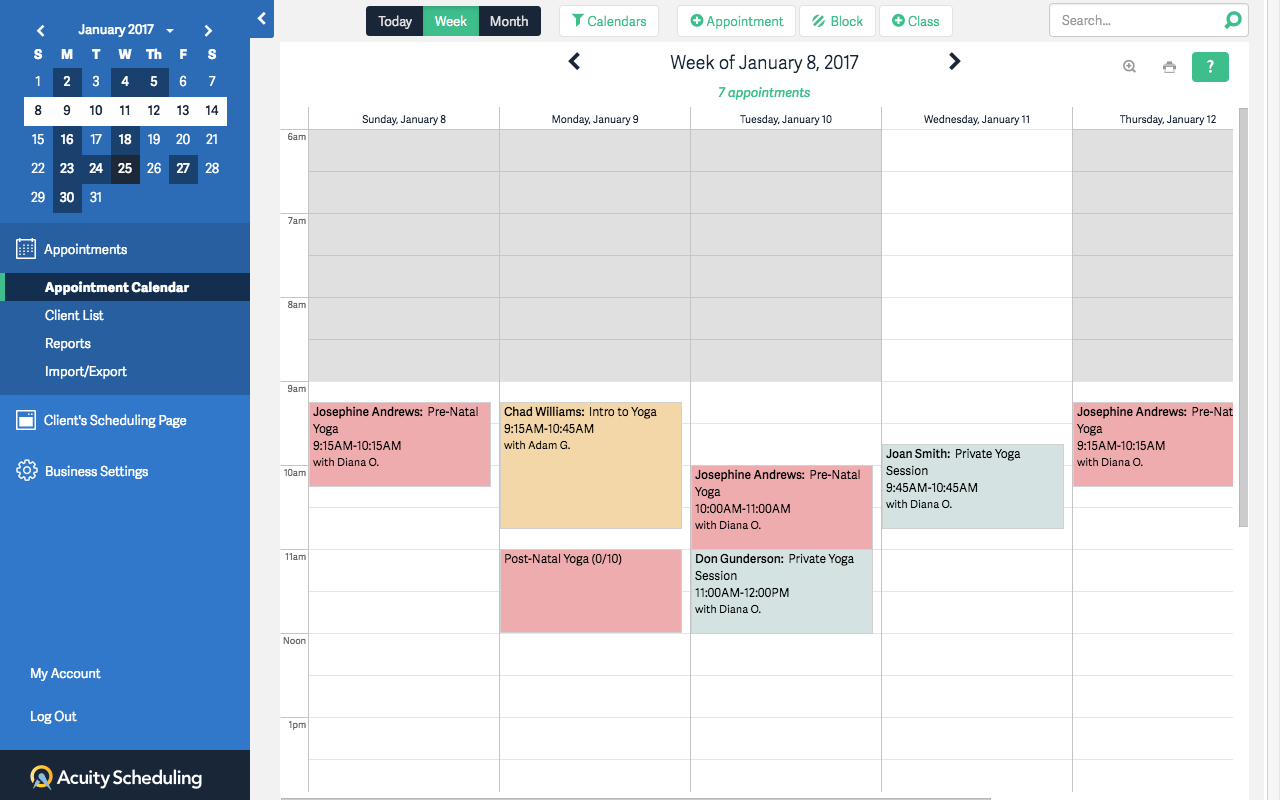 Acuity Scheduling screenshot 1
