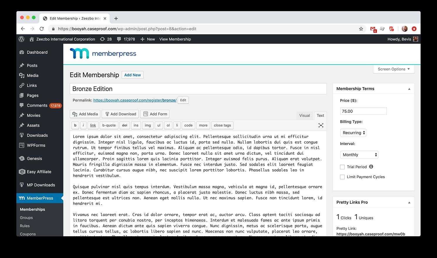 MemberPress screenshot 1