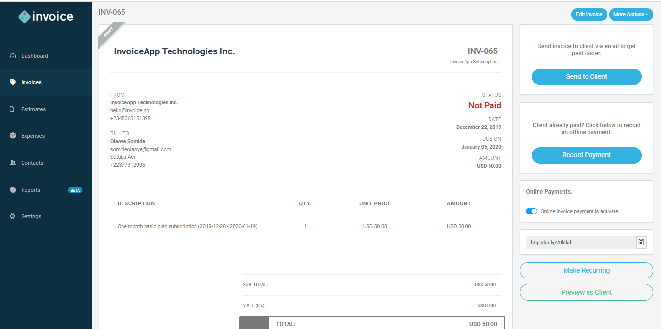 Getinvoice.co screenshot 1