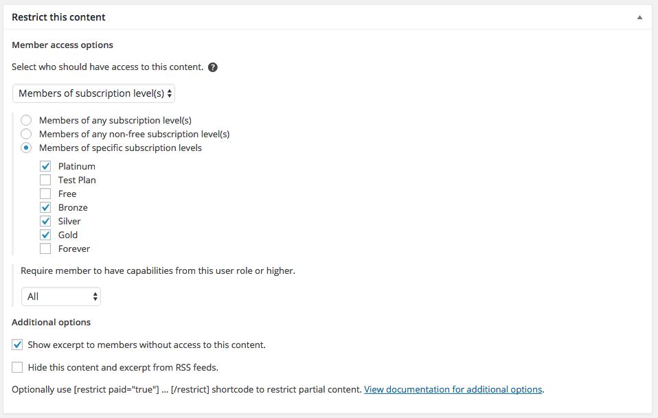 Restrict Content Pro screenshot 2