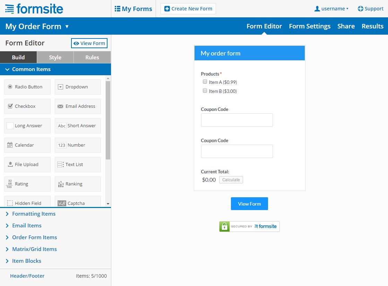 Formsite screenshot 1
