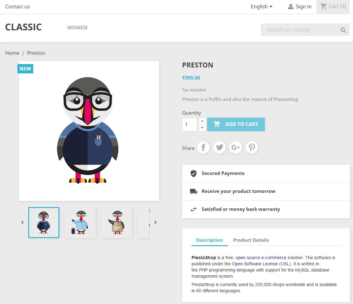 PrestaShop screenshot 0