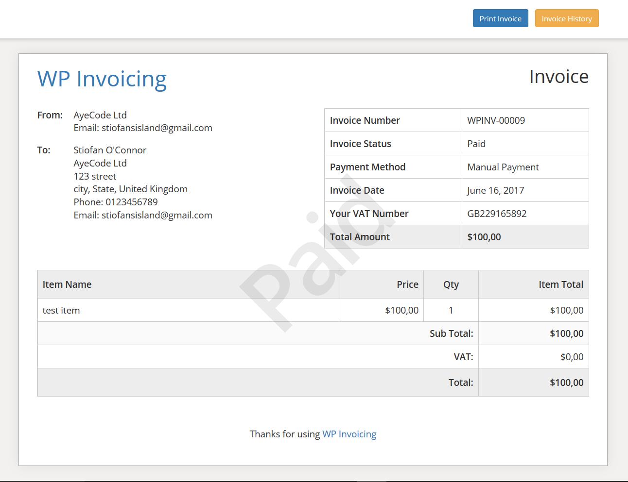 WP Invoicing screenshot 0