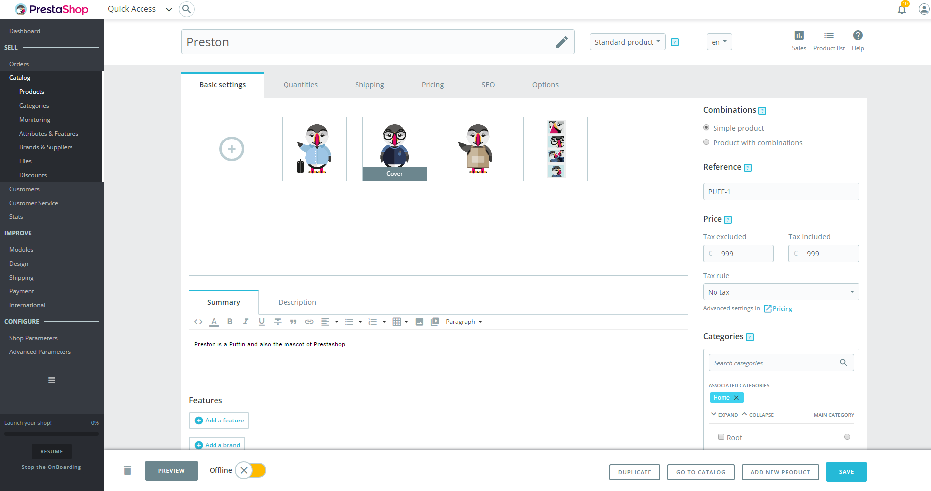 PrestaShop screenshot 1